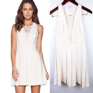 BCBG Ivory White Sexy Lace Back Cutout Short Dress